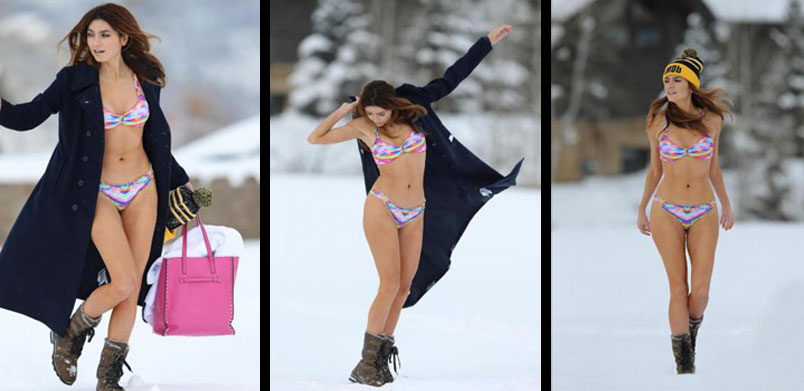 Blanca Blanco in bikini sulla neve